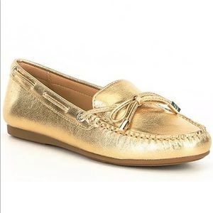 Michael Kors Sutton gold leather bow loafers 7.5